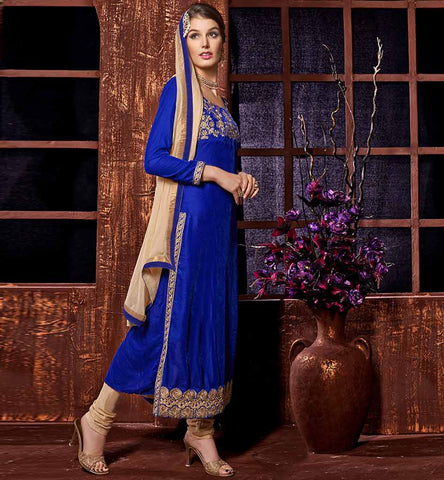 Blue designer velvet straight womens wear salwar kameez.