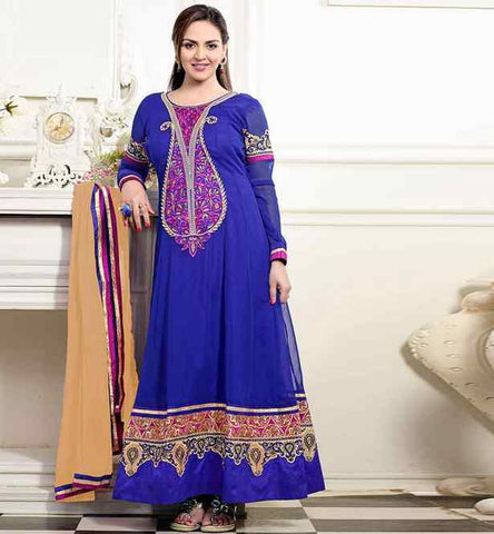 ESHA DEOL IN BLUE FULL LONG ANARKALI SALWAR KAMEEZ SUIT DRESS