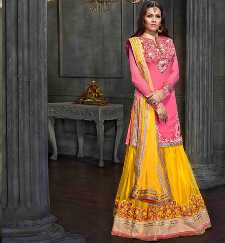 Buy Designer Pink & Yellow Wedding wear lehenga Choli