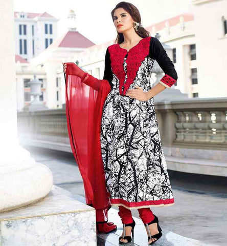 PRINTED COTTON PARTY WEAR SALWAR KAMEEZ DRESS OFF WHITE & BLACK RATE RS. 3200.00