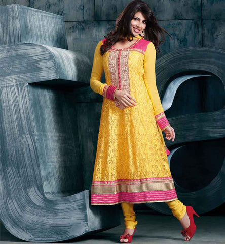 Designer Yellow Anarkali Dress.