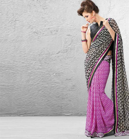 Dipali Collection - Black & Pink Printed Casual Saree