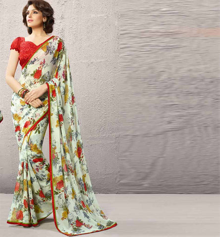 Dipali Collection - Printed Off White Casual Saree
