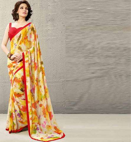 Dipali Collection - Cream & Yellow Printed Saree