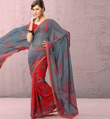 Dipali Collection - Maroon & Grey Casual Printed Saree