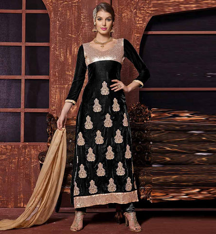 Exclusive Black zari worn and embroidery salwar suit.