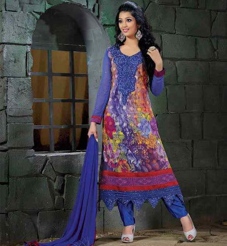 Floral print salwar kameez with embroidrey and lace