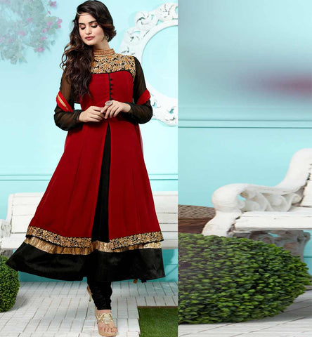 Black & Maroon Jacket style 2015 design Jacket look Anarkali Salwar Kameez - Price Rs. 2525.00 only with free cash on delivery in India.