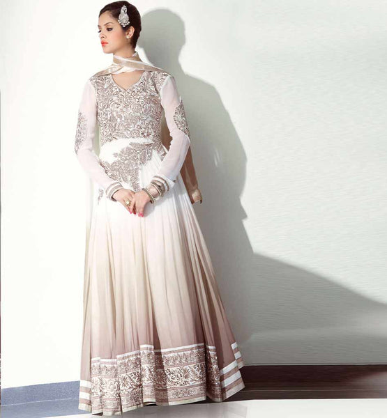 Shaded anarkali dress - Off White & Chikoo - Online shopping in India.