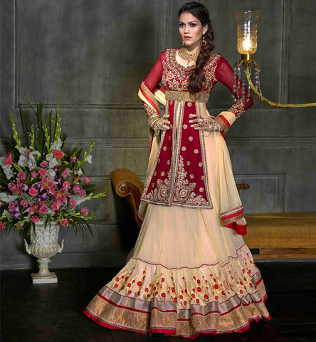 Shop Online for Indian designer Cream & maroon Wedding wear Lehenga choli