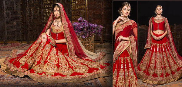 Shop online for Designer Heavy Red Indian Bridal wear Lehenga Choli