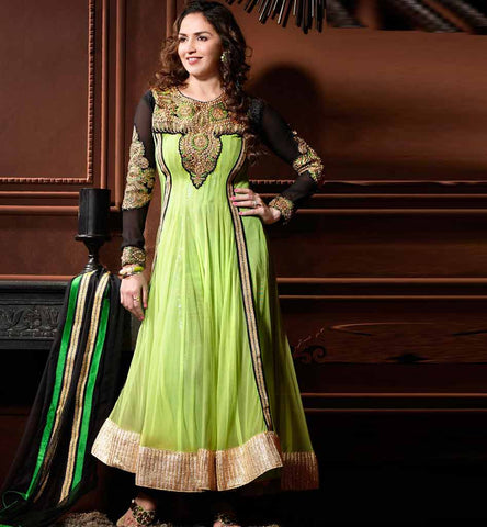 Esha Deol Green Net Anarkali