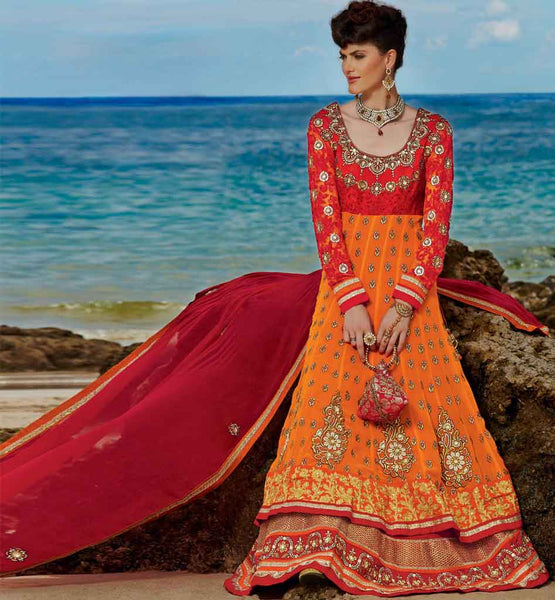 Bold Orange wedding wear anarkali