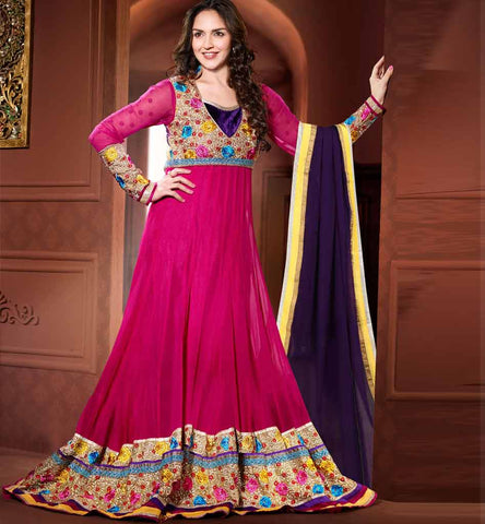 Esha deol in Pink floor length Anarkali