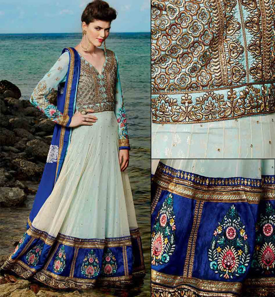 Beautiful Blue & Cream wedding wear Anarkali
