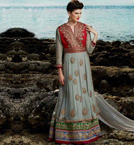 Glamorous Grey wedding wear anarkali