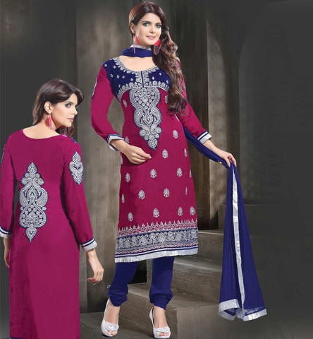 Dark pink velvet straight cut salwar suit dress.