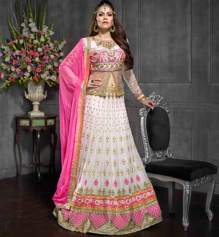 Designer Indian wedding wear Off White & Pink Anmol collection Lehenga Choli