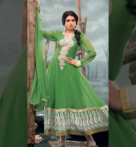 Bhagyashree in green anarkali dress.