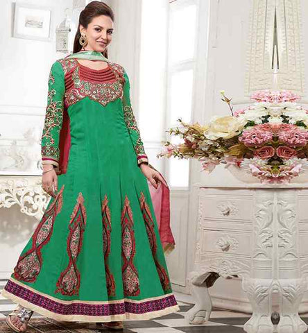 ESHA DEOL IN GREEN FLOOR LENGTH ANARKALI SALWAR KAMEEZ SUIT DRESS