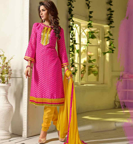 Pink salwar kameez with dupatta priced below rs. 1500.00