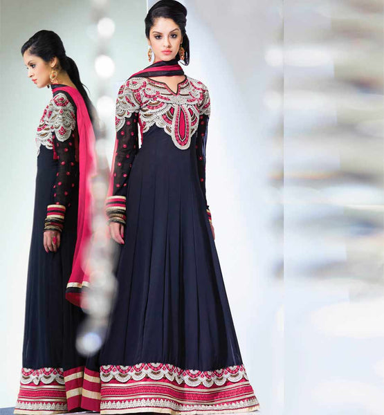 Navy Blue Georgette Anarkali dress online shopping in India from stylishbazaar.