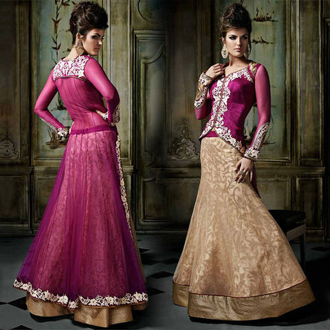 8001 KHWAAB AURA ANMOL FASHIONS CREAM AND MAGENTA LEHENGA CHOLI DRESS