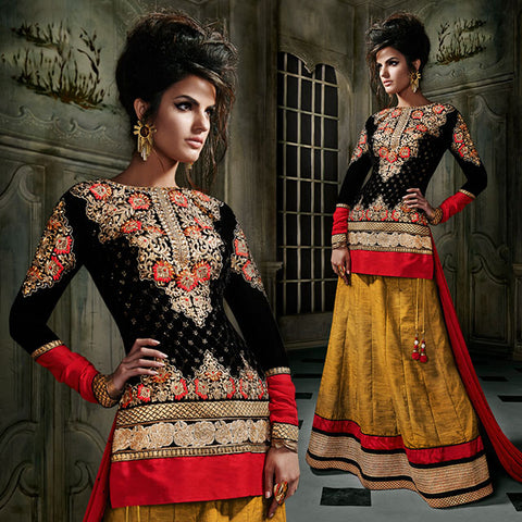 8002 KHWAAB AURA BLACK AND MUSTARD LEHENGA CHOLI