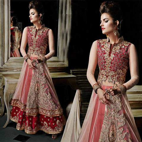 8005 KHWAAB AURA CATALOG BY ANMOL FASHIONS NEW CREAM AND MAROON WEDDING WEAR LEHENGA CHOLI