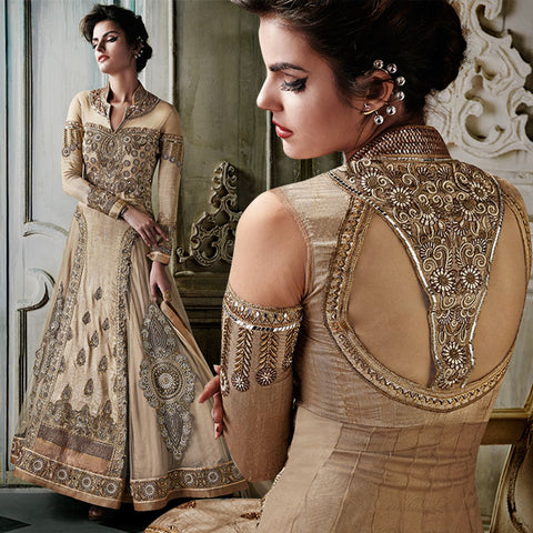 8006 KHWAAB AURA NEW CATALOGUE BY ANMOL FASHIONS CREAM WEDDING WEAR FULL LENGHT ANARKALI DRES WITH EMBROIDERY
