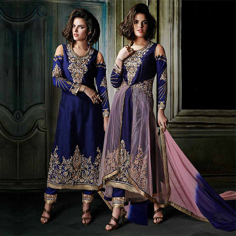 8007 KHWAAB AURA LATEST DESIGNS BY ANMOL FASHIONS SURAT NAVY BLUE DRESS WITH PINK JACKET