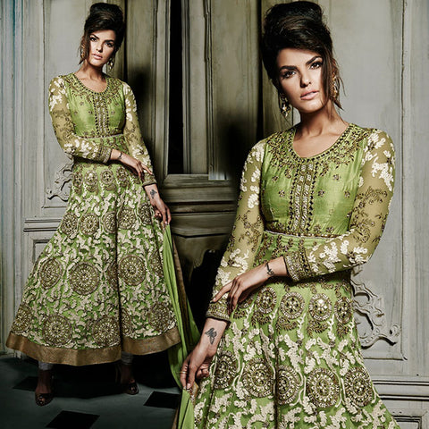 8009 KHWAAB AURA WEDDING WEAR GREEN HEAVY EMBROIDERY ANARKALI WITH SALWAR AND DUPATTA