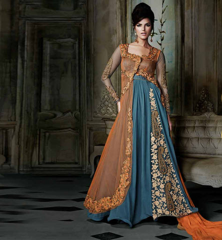 dual color dress with combination of orange and blue for ramadan 2015