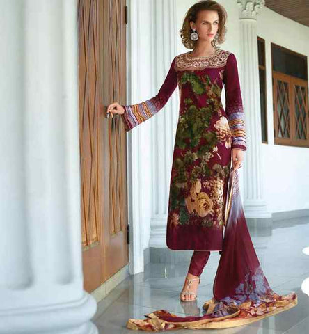 beautiful lawn cotton salwar kameez with bemberg chiffon dupatta