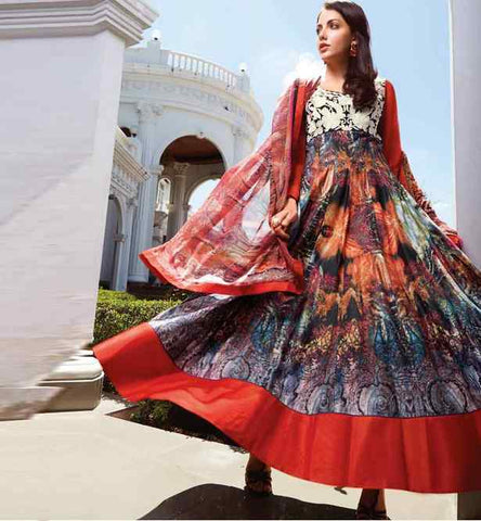 FASCINATING LAWN COTTON ANARKALI WITH BEMBERG CHIFFON DUPATTA
