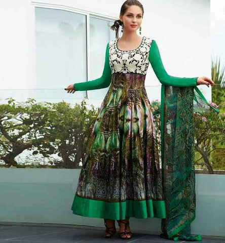 MESMERIZING LAWN COTTON ANARKALI WITH BEMBERG CHIFFON DUPATTA