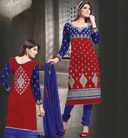Maroon & Blue Velvet Salwar kameez from stylish Bazaar.