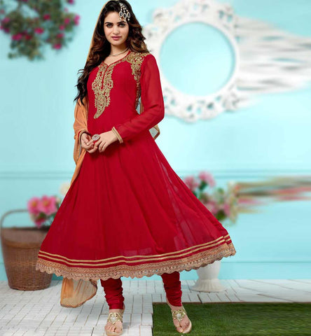 Excellent look Red designer Indian party wear anarkali salwar kameez - 2015 design - Rate Rs. 2525.00 with free shipping across India.