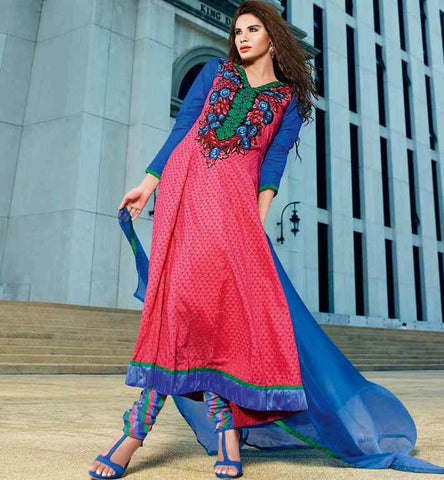 DUSTY PINK COTTON PARTY WEAR SALWAR SUIT WITH EMBROIDERY