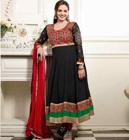 ESHA DEOL IN BLACK LONG ANARKALI SALWAR KAMEEZ SUIT DRESS