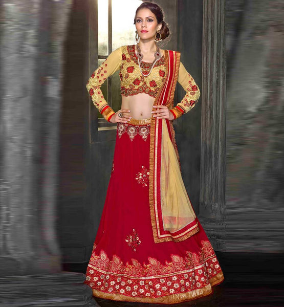 stylishbazaar 3pc red & cream lehenga choli for Indian wedding recptions.