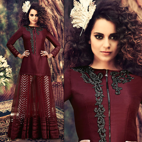 kangana ranaut brown zipper style dress with contrast black stone work patch on neckline
