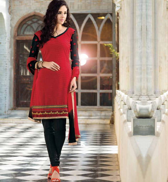 Red-pure-chanderi-salwar-suit