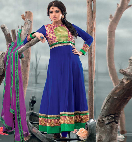 Bhagyashree in Blue anarkali dress.