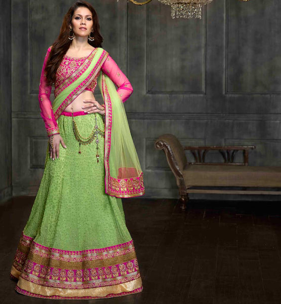 Awesome 3pc green & pink lehenga choli for Indian wedding reception functions