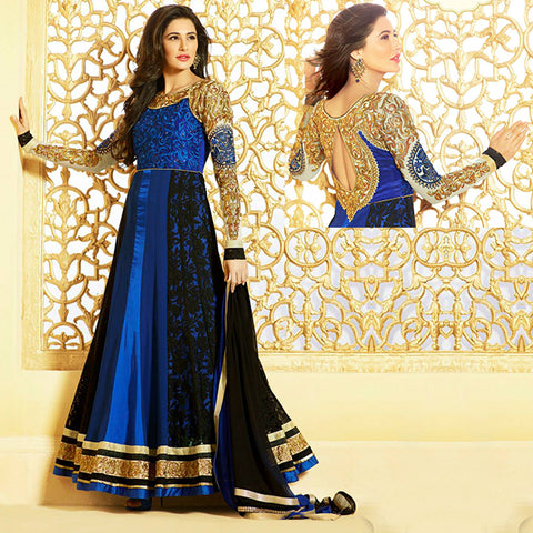 BEWITCHING BLUE AND BLACK BOLLYWOOD NARGIS FAKHRI LONG ANARKALI SUIT GLV62607