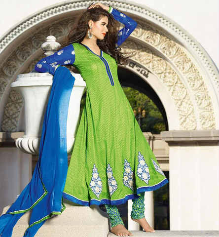 Green Cotton party wear anrakali salwar kameez with embroidery