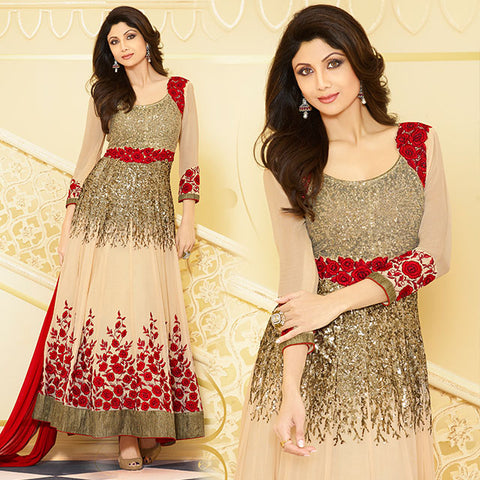 CELEBRITY STYLE EMBROIDERED ANARKALI SUITS ONLINE #KMSH4053