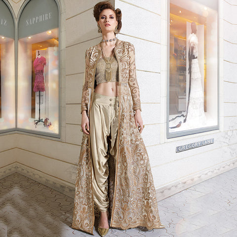 Zoya Glitterz Royal beige colored designer dress from Stylish Bazaar