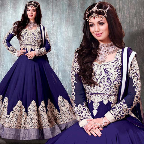 BEAUTIFUL BLUE AYESHA TAKIA GOWN STYLE DRESS WITH CHIFFON DUPATTA RTNV9005